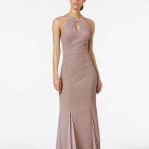 NIGHTWAY Glitter-Knit Teardrop Gown SZ 8